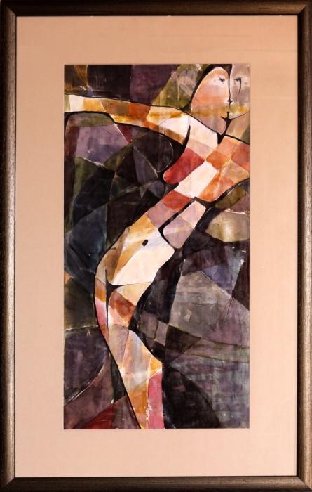 Nočný akt , akvarel, 50x88cm b